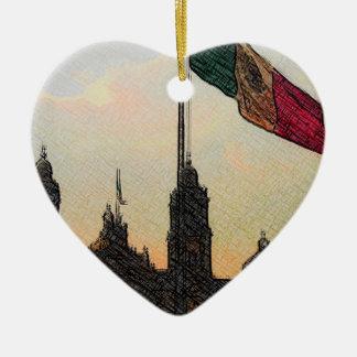 La Bandera 2.jpg de la estafa del EL Zocalo del DF Adorno De Cerámica En Forma De Corazón