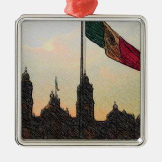 La Bandera 2.jpg de la estafa del EL Zocalo del DF Adorno Cuadrado Plateado