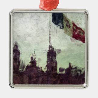 La Bandera 3 de la estafa del EL Zocalo del DF del Adorno Cuadrado Plateado