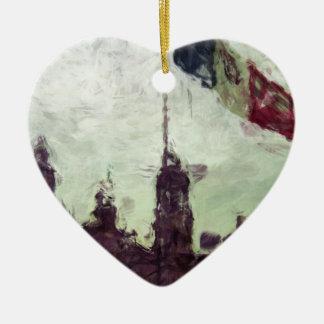 La Bandera 3 de la estafa del EL Zocalo del DF del Adorno De Cerámica En Forma De Corazón