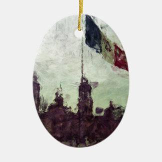La Bandera 3 de la estafa del EL Zocalo del DF del Adorno Ovalado De Cerámica