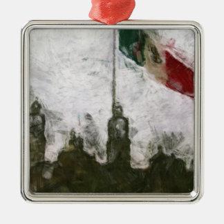 La Bandera 4 de la estafa del EL Zocalo del DF del Adorno Cuadrado Plateado