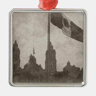 La Bandera 6 de la estafa del EL Zocalo del DF del Adorno Cuadrado Plateado