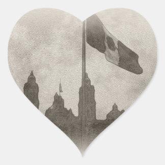 La Bandera 6 de la estafa del EL Zocalo del DF del Pegatina En Forma De Corazón