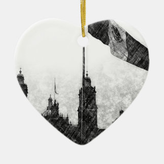 La Bandera 8 de la estafa del EL Zocalo del DF del Adorno De Cerámica En Forma De Corazón