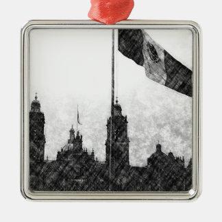 La Bandera 8 de la estafa del EL Zocalo del DF del Adorno Cuadrado Plateado