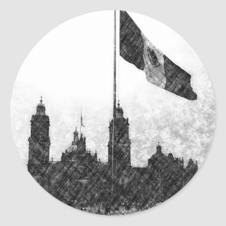 La Bandera 8 de la estafa del EL Zocalo del DF del Pegatina Redonda