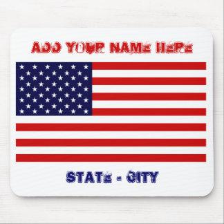 La bandera americana, añade su nombre aquí, estado tapete de ratón