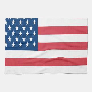 La bandera americana con las estrellas blancas toalla de mano