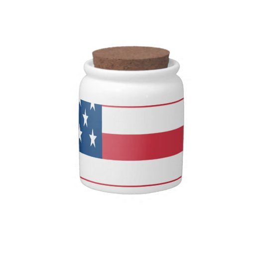 La bandera americana con las estrellas blancas tarro de cerámica para dulces