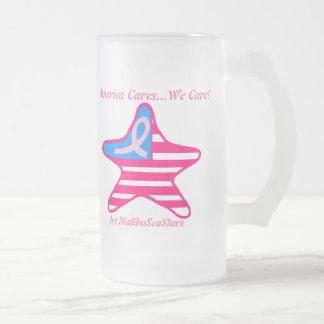 la bandera americana del cáncer de pecho, América  Taza