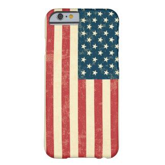 La bandera americana envejecida se descoloró funda para iPhone 6 barely there
