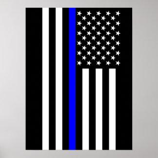 La bandera americana fina simbólica de Blue Line Póster