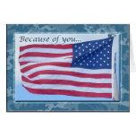 La bandera americana le agradece tarjeta del solda