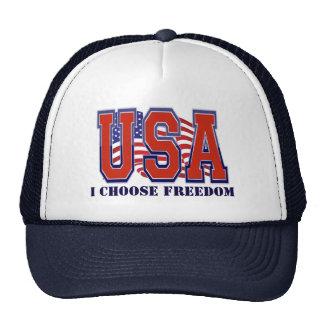 La bandera americana los E.E.U.U. elijo la Gorro