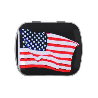 La bandera americana patriótica protagoniza la lat frascos de dulces