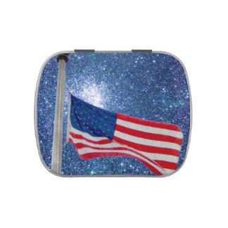 La bandera americana patriótica protagoniza la lat jarrones de caramelos