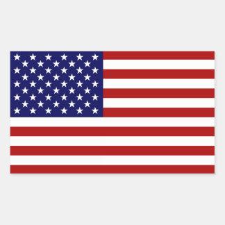 La bandera americana pegatina rectangular