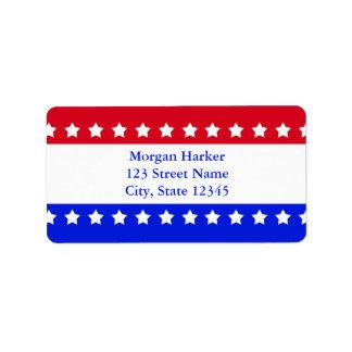 La bandera americana protagoniza el texto de etiqueta de dirección