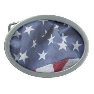 La bandera americana protagoniza la hebilla del hebilla de cinturon oval