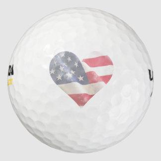 La bandera americana rústica de los E.E.U.U. del Pack De Pelotas De Golf