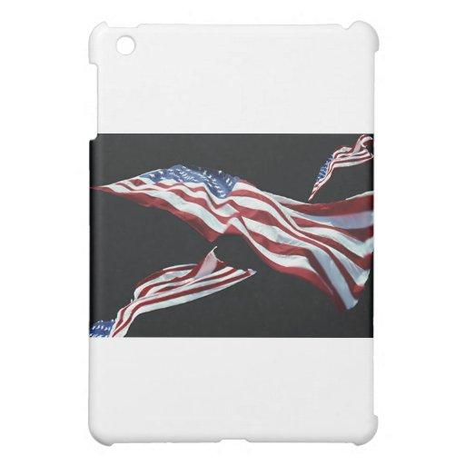 La bandera americana - soplada en el viento