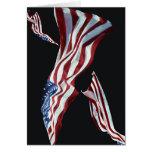 La bandera americana - soplada en el viento felicitación