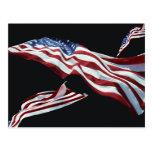 La bandera americana - soplada en el viento postales