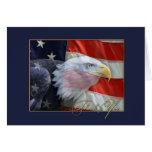 La bandera americana y Eagle le agradecen cardar Tarjeta