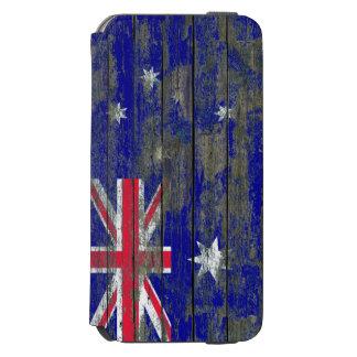La bandera australiana en la madera áspera sube a funda billetera para iPhone 6 watson