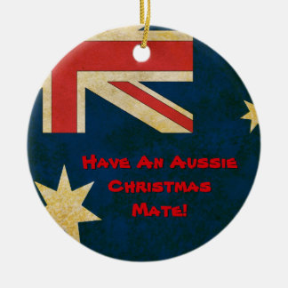 La bandera australiana tiene un ornamento adorno navideño redondo de cerámica