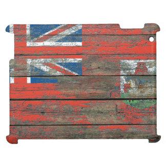 La bandera bermude6na en la madera áspera sube a