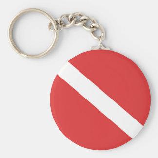 La bandera blanca roja del buceador de la insignia llavero redondo tipo pin