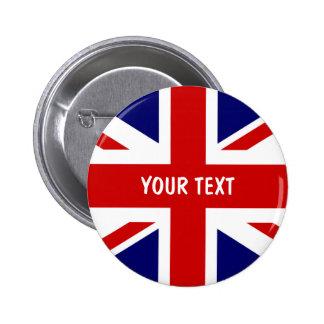 La bandera británica abotona Union Jack personaliz Pin Redondo 5 Cm