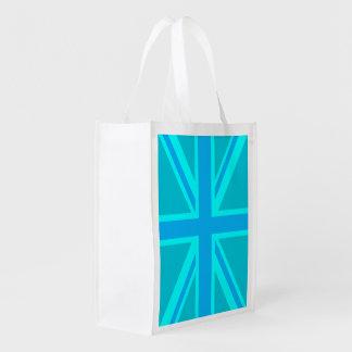 La bandera británica de Union Jack de la turquesa  Bolsas Para La Compra