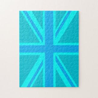 La bandera británica de Union Jack de la turquesa  Puzzles Con Fotos