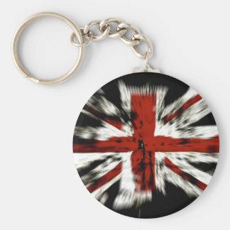 La bandera británica raya paz de los colores del h llavero redondo tipo pin