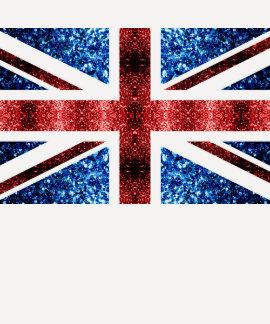 La bandera BRITÁNICA roja y el azul chispea los Remera