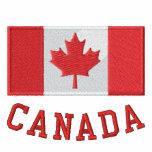 La bandera canadiense bordada relampaga para arrib