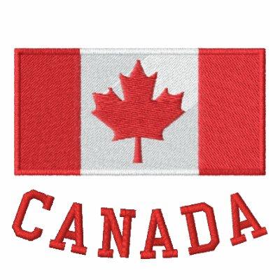 La bandera canadiense bordada relampaga para arrib sudadera con capucha