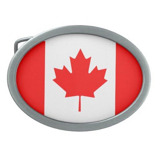 La bandera canadiense - recuerdo de Canadá Hebillas De Cinturon