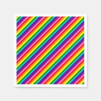 La bandera colorida del arco iris raya el modelo servilleta desechable