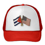 La bandera cubana y la bandera americana gorras de camionero