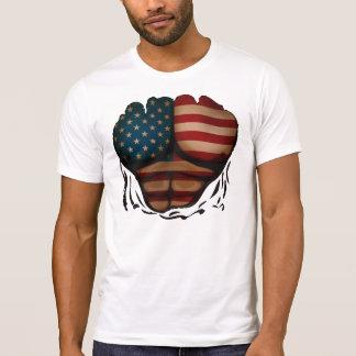 La bandera de América Muscles patriótico divertido Playera