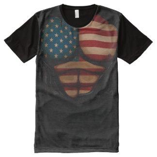 La bandera de América Muscles patriótico rasgada