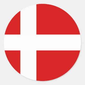 La bandera de Dinamarca Pegatina Redonda