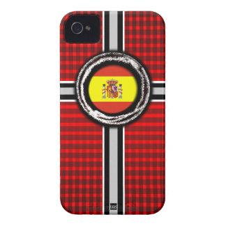 La bandera de España graba en relieve la caja roja iPhone 4 Fundas