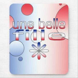 La bandera de Fille Francia de la belleza de Une Mouse Pad