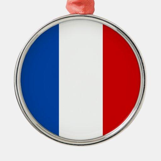 La bandera de Francia Adorno Redondo Plateado