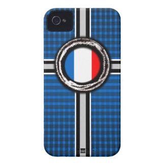 La bandera de Francia graba en relieve la caja azu iPhone 4 Funda